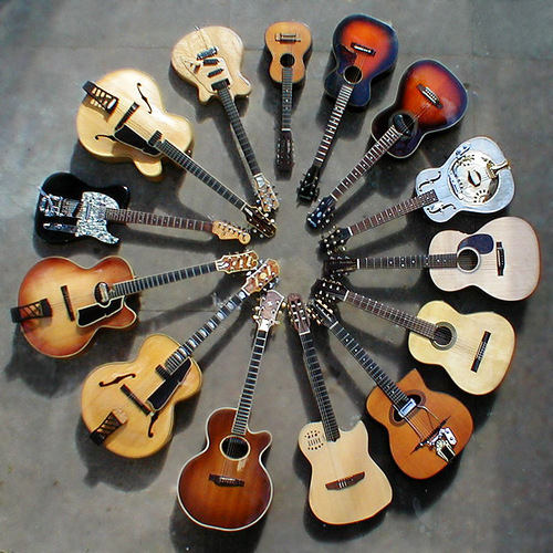 A lot of guitars