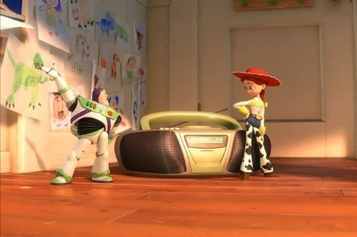 Jessie (Toy Story) wallpaper possibly containing a living room, a toaster, and a vacuum titled Buzz and Jessie's dance