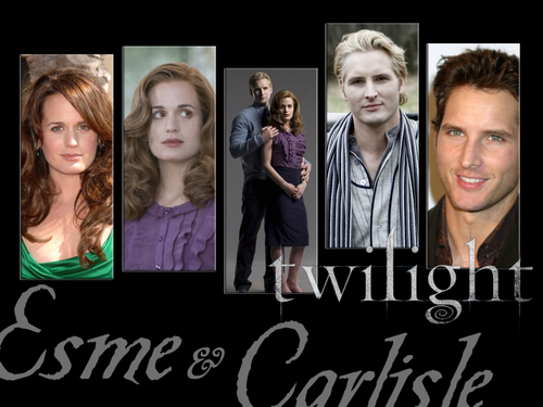 Esme Cullen wallpaper with a sign and a portrait called Carlisle and Esme