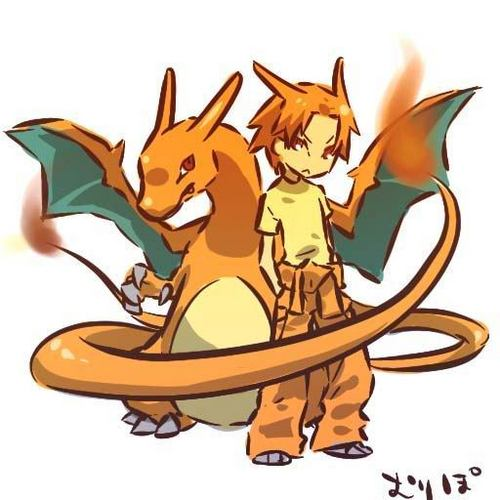 Pokémon wolpeyper possibly containing anime entitled Charizard and Trainer