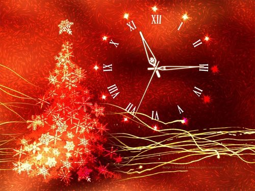 Christmas wallpaper with a red maple and a japanese maple called Christmas Clock