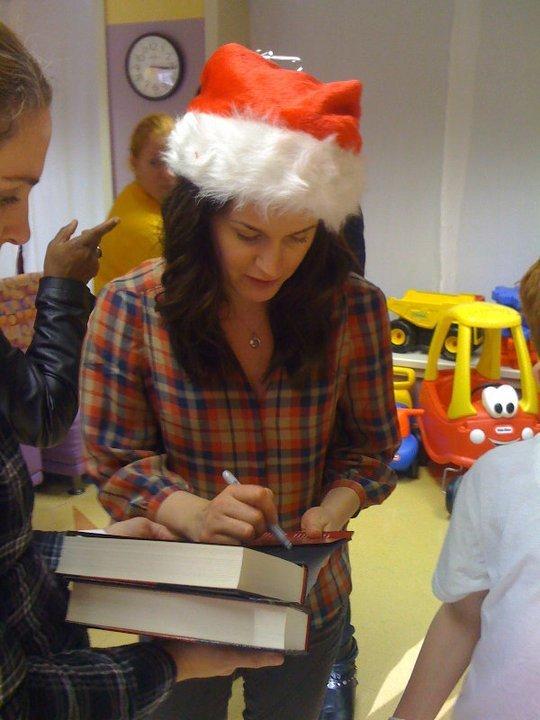 Elizabeth visiting a children's hospital in Louisiana.