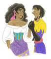 Esmeralda and Clopin Holding Hands - esmeralda fan art