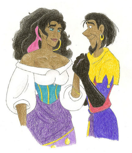 Esmeralda and Clopin Holding Hands