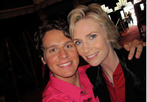 Jonathan Groff and Jane Lynch