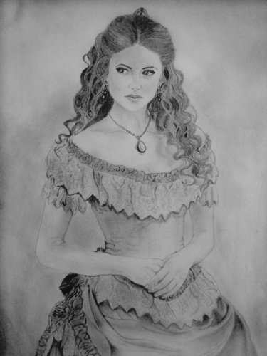 Katherine Pierce Hintergrund probably containing a polonaise, a mantilla, and a kirtle entitled Katherine Pierce drawing