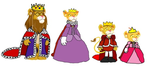 King Theo, queen Cleo, Prince Lionel, and Princess Leona
