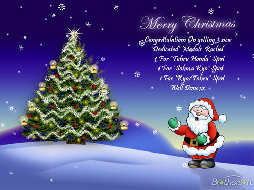 funkyrach01 wallpaper titled Merry Christmas and Congratulations on your 3 new *Dedicated* medals Rachel xx