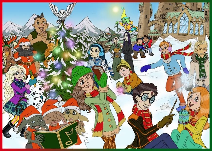 Merry Hogwarts Christmas Harry Potter پرستار Art 17723063