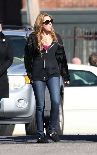 Miley leaving the set of her movie 'So Undercover' in New Orleans on December 13,2010