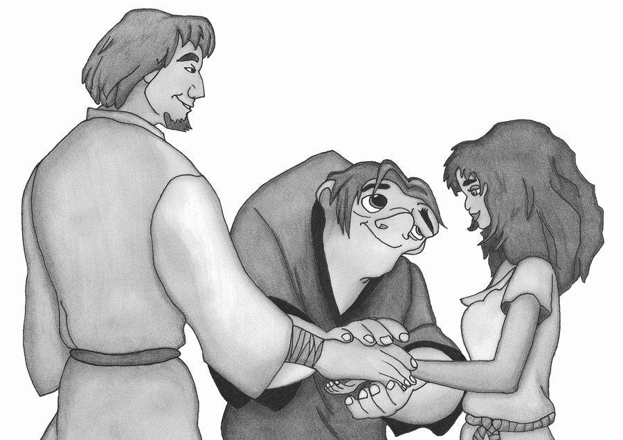 Quasimodo Joins Esmeralda and Phoebus' Hands