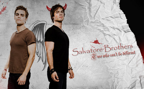 Damon and Stefan Salvatore 壁紙 probably containing a well dressed person and a sign called Salvatore