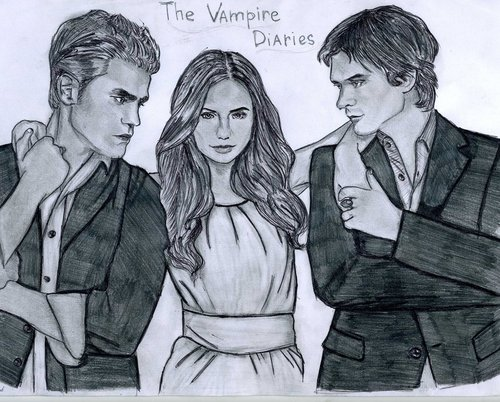 The Vampire Diaries TV دکھائیں پیپر وال possibly containing a green beret, وردی, فتاگیس, and عملی حکمت titled The Vampire Diaries drawing