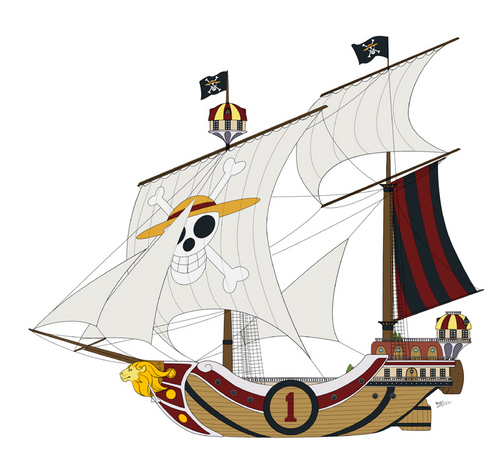 One Piece achtergrond possibly containing a bark, a brig, and a square rigger entitled Thousand Sunny
