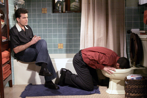 Two and a Half Men achtergrond with a bathroom and a douche stall entitled Two and a Half Men