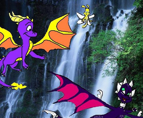 Spyro The Dragon kertas dinding titled spyro and cynder