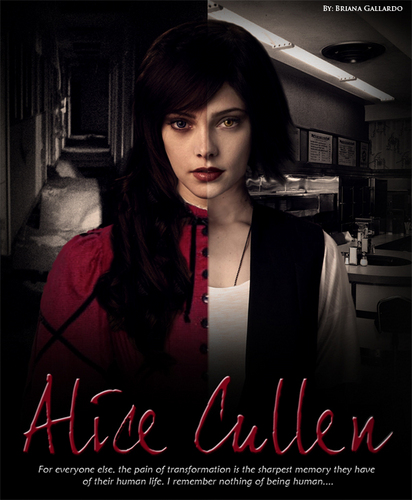Alice Cullen achtergrond probably with a sign titled Alice Cullen
