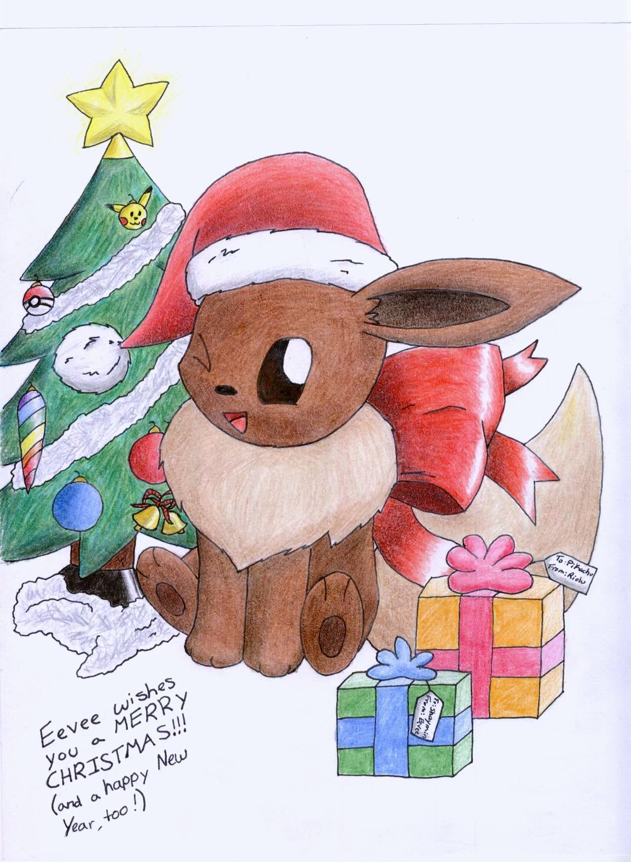 pokémon images christmas eevee hd wallpaper and background photos