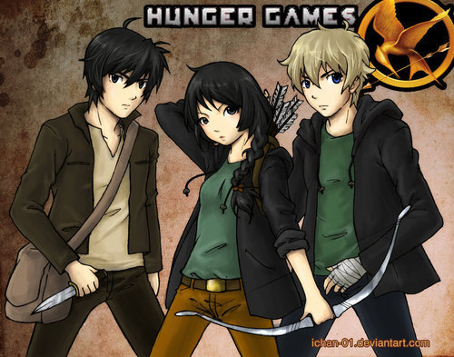 The Hunger Games achtergrond possibly with anime called Gale,Katniss and Peeta =)
