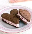 Heart ice cream sandwhich