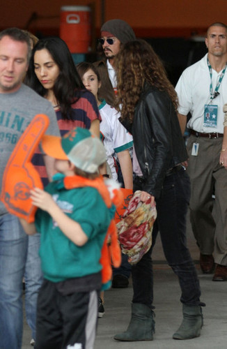 Johnny Depp and Family at a Miami Dolphins Game - Dec 19 2010