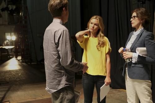 Julia Stiles on the set of Dexter