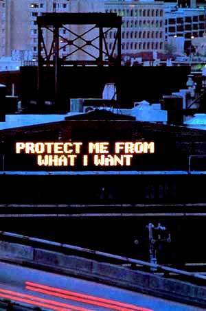Personality Test wallpaper probably with a business district, a refinery, and an oil refinery called Protect Me... By: Jenny Holzer