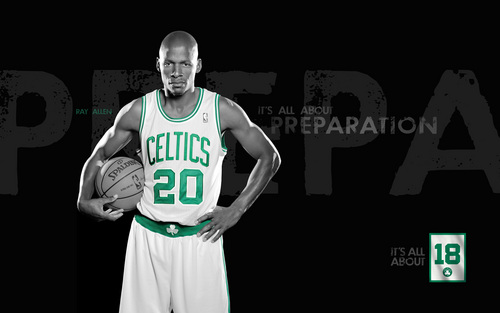 Boston Celtics Hintergrund possibly containing a basketball player and a dribbler titled strahl, ray Allen