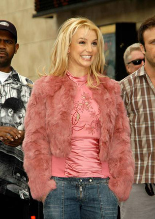 Britney Spears wallpaper possibly containing a fur coat called Reciving her Star on the  Hollywood Walk of Fame-November 2003