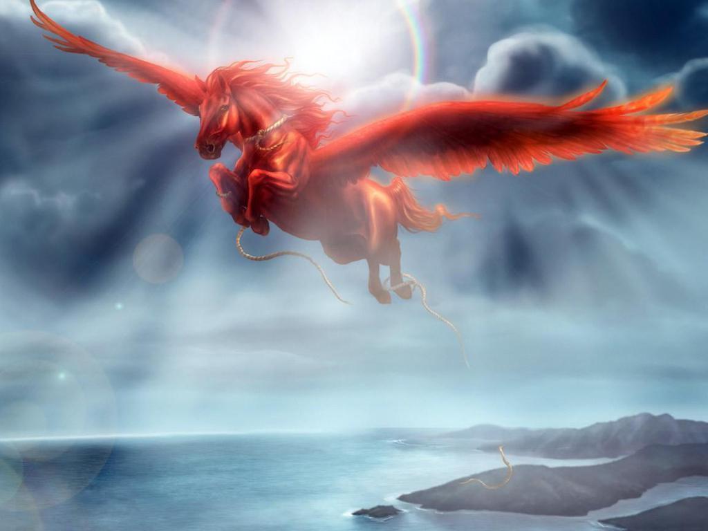 Fantasy Red pegasus  Pegasus