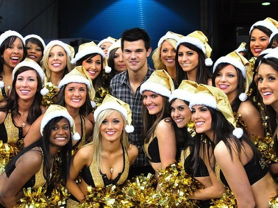 Taylor Lautner With The New Orleans Saints Cheerleaders!