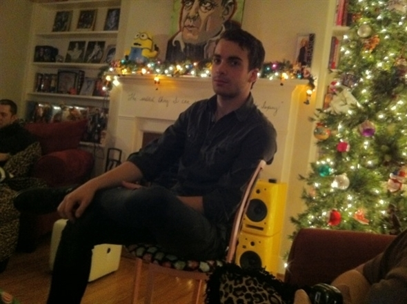 And here's Taylor watching wrestling at my house. It's Christmas-ey in here.