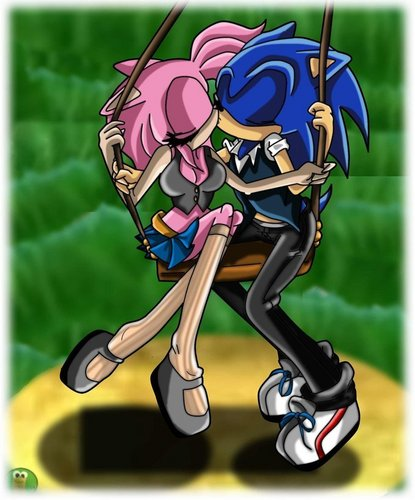 Sonic the Hedgehog wallpaper titled sonamy baciare