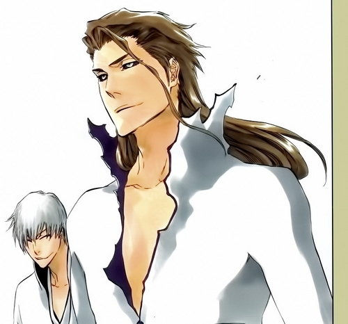 anime bleach wallpaper probably with a portrait and anime called gin and Aizen