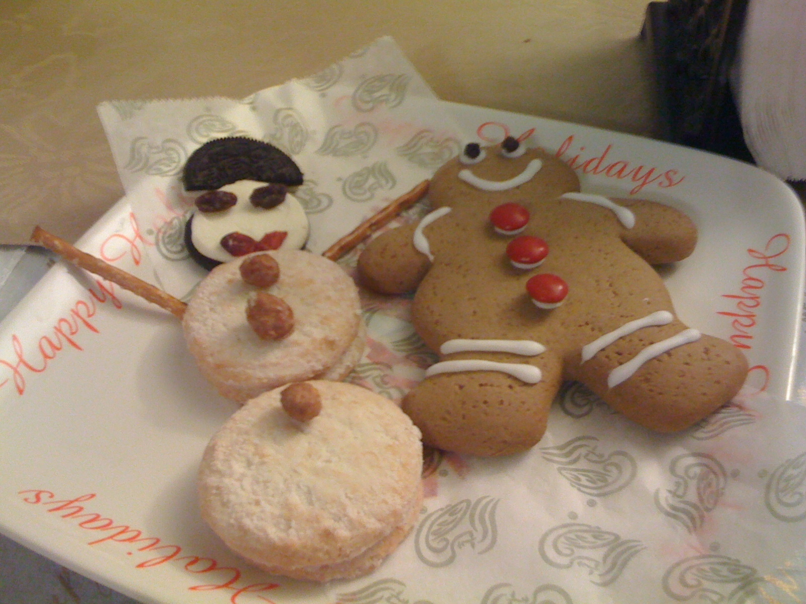 Gingerbread man and snow man
