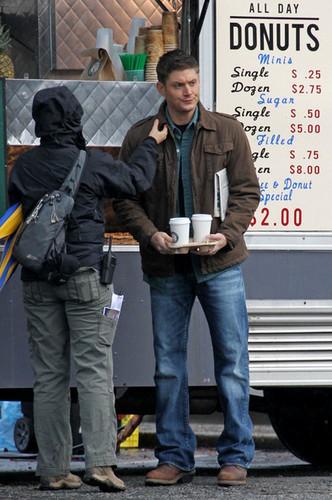 Jared Padalecki and Jensen Ackles on Set