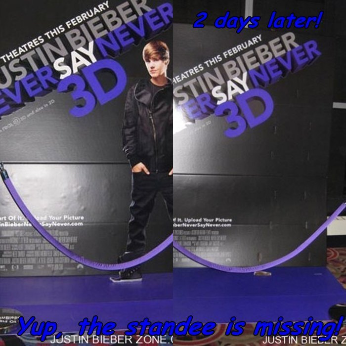 "Missing: Justin Bieber ""Never Say Never"" 3D Film Movie Standee"
