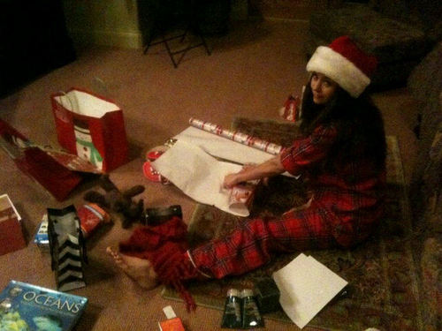 New Twitter Picture - Nina wrapping gifts