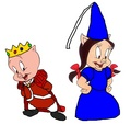 Prince Porky Pig and Princess warna ungu tua, petunia Pig