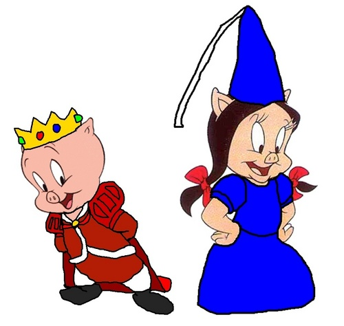 Looney Tunes hình nền possibly containing anime called Prince Porky Pig and Princess cây dạ yên thảo, petunia Pig