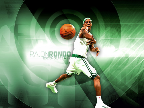 Boston Celtics Hintergrund possibly with a basketball player, a dribbler, and a basketball entitled Rajon Rondo
