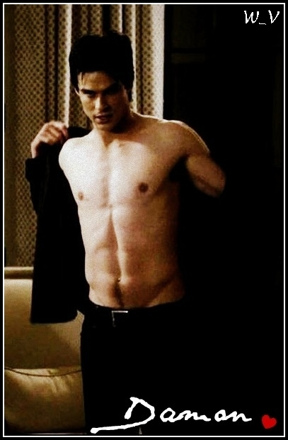sexy damon     damon salvatore fan art 17906455   fanpop