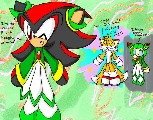 Shadow wearing Cosmo's clothes XD