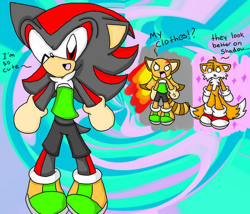 Shadow wearing Marine's clothes XD