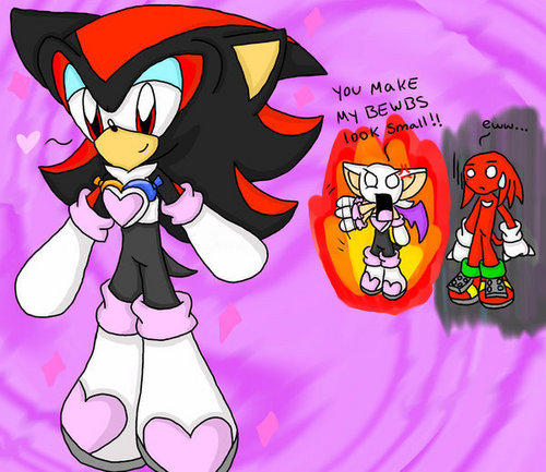 Shadow wearing Rouge's clothes XD
