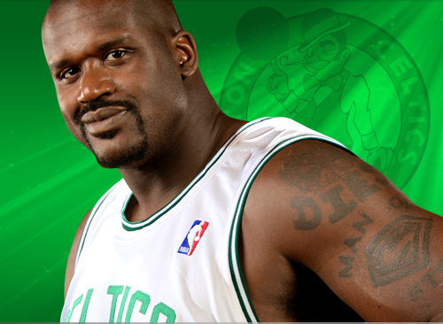 Boston Celtics Hintergrund with a Tennis pro and a Tennis player titled Shaquille O'Neal :)