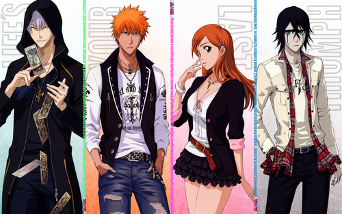 animê bleach wallpaper possibly with an outerwear, a well dressed person, and an overgarment entitled Gin-Ichigo-Orihime-Ulquiorra