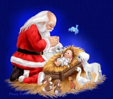 santa with baby jesus - santa-claus Photo