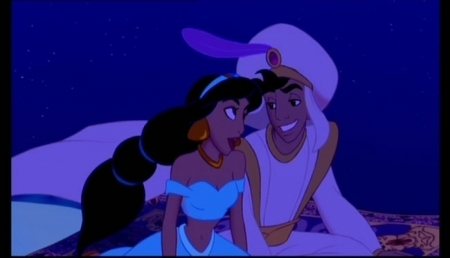 Princess jimmy, hunitumia karatasi la kupamba ukuta possibly containing anime called Aladdin-A Whole New World