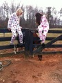 Caitlin & Payton in their footie PJ's